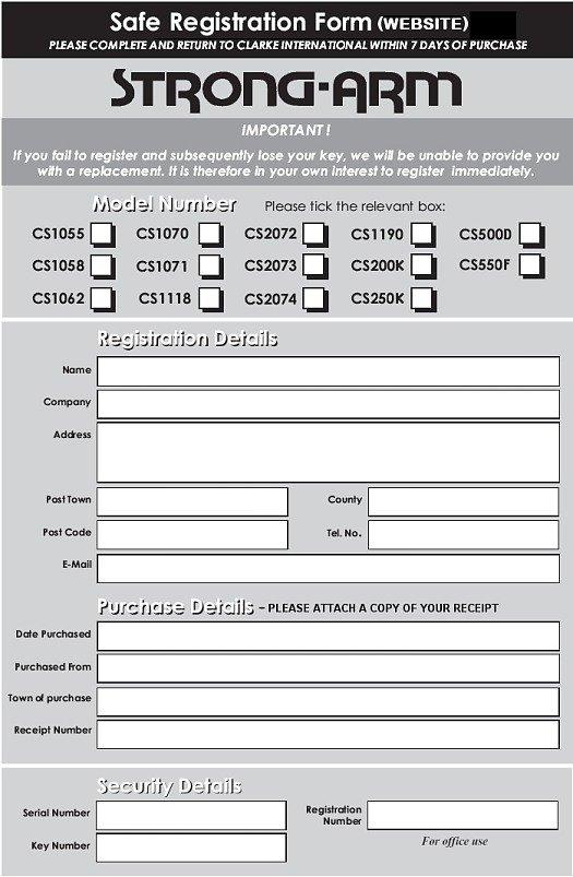 Print a Clarke Safe Product Registration Form